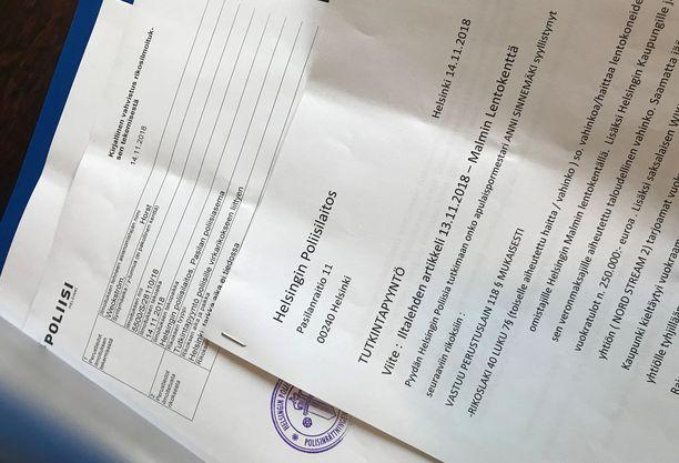 Tutkintapyyntö kirjattiin poliisissa tiistaina 14.11.