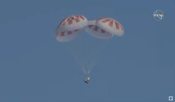 SpaceX palasi onnistuneesti Maahan.