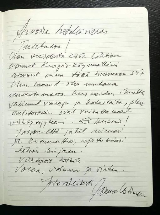 Jorma Uotisen kirjoittama tervehdys hänen nimikkohuoneensa asukkaille.