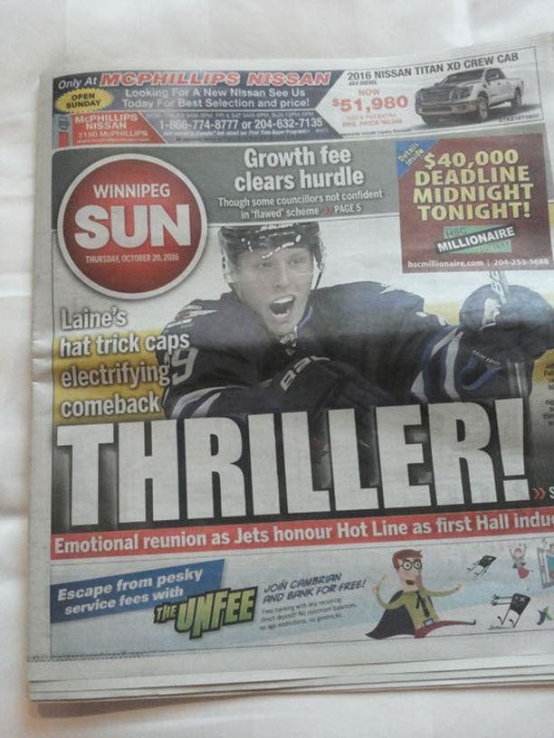 """Trilleri"", kirkui Winnipeg Sunin kansi."