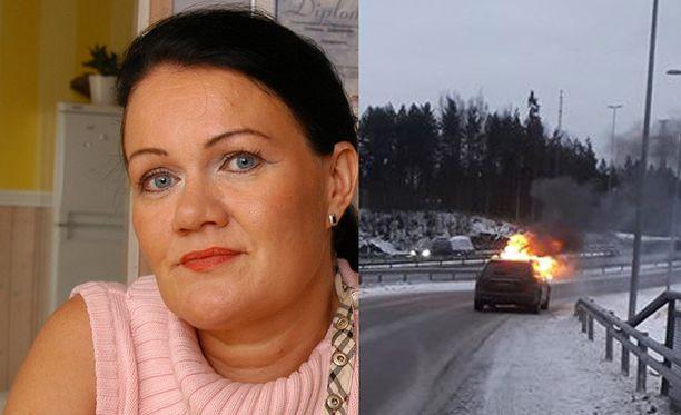 Susanna Hanhineva muistetaan takavuosien tangoprinsessa. Lauantaina hän pelastui täpärästi palavasta autosta.