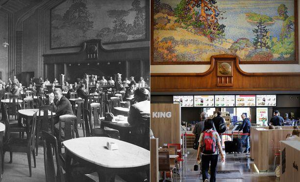 Rautatieaseman Eliel-sali vuonna 1929 ja vuonna 2014. Maalaus on Eero Järnefeltin.