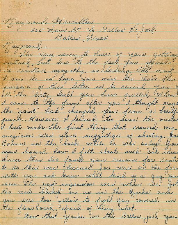 Bonnie Parkerin uskotaan kirjoittaneen kirjeen Clyde Barrown sanelusta.
