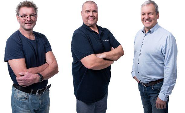 Mika Nieminen (vas.), Timo Jutila ja Jukka Tammi paljastavat televisiossa paheensa.