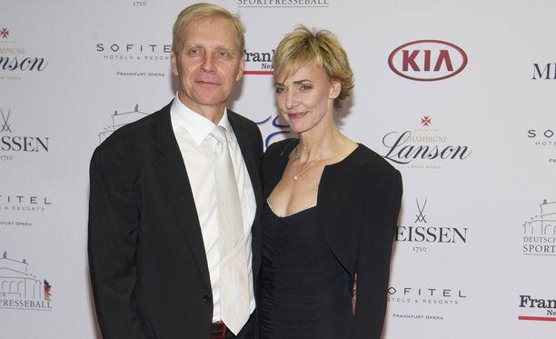 Arto Bryggare ja Heike Drechsler kuvattuna viime marraskuussa gaalatilaisuudessa Frankfurtissa.