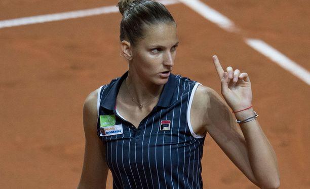 Karolina Pliskova raivosi tuomarille tappionsa jälkeen.