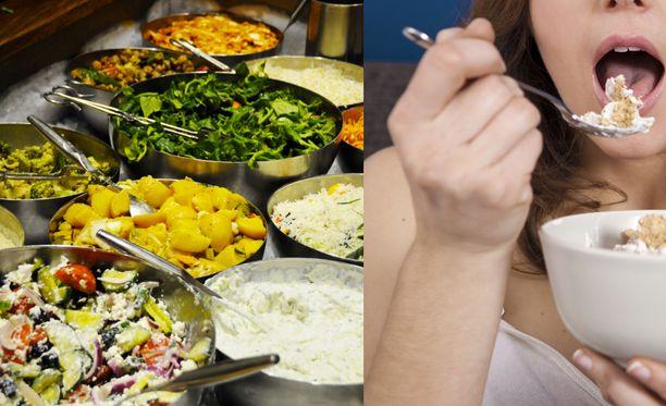 Noutopöydässä lautaselle otetaan usein ruokaa enemmän kuin sitä jaksetaan syödä.