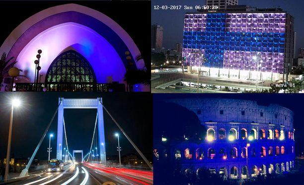 Budapestin maamerkki Elisabetin silta valaistiin jo maanantaina sinivalkoisin värein Suomen 100-vuotisjuhlien kunniaksi. Myös esimerkiksi Rooman Colosseum, Tel Avivin kaupungintalo ja Kanariansaarten Playa del Inglésissä Templo Ecuménico juhlistavat satavuotiasta Suomea.