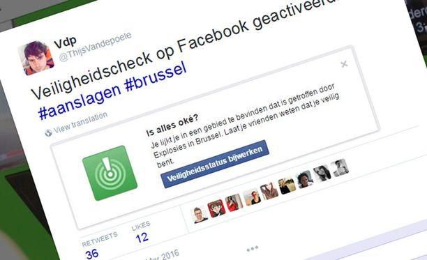 Käyttäjä Brysselissä kertoo saaneensa Facebookilta hätäilmoituksen.