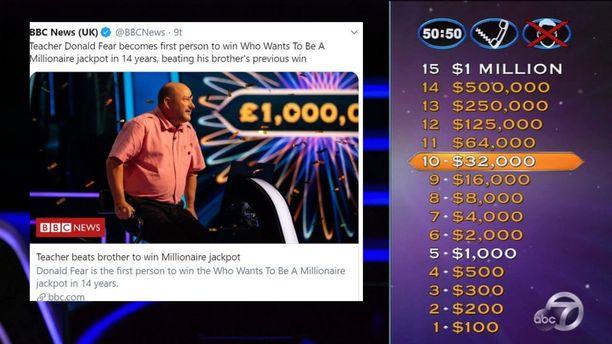Donald Fear on kuudes britti, joka on napannut Haluatko miljonääriksi? -ohjelman pääpalkinnon.