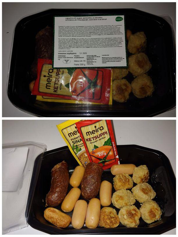 Ateriapalvelun lounasannos sisälsi pelkkää lihaa. Lukijan kuva.