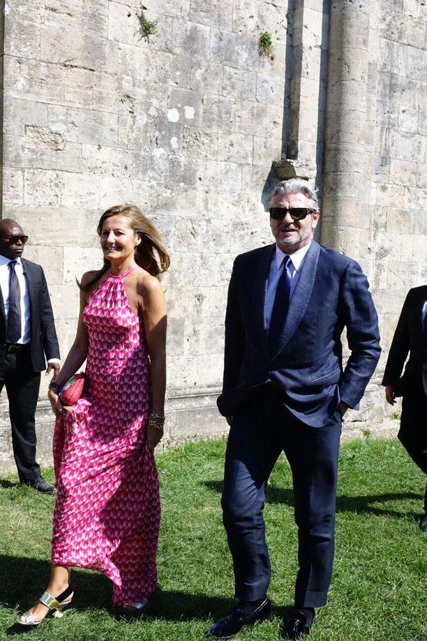 Ferrarin tallipäällikkö Maurizio Arrivabene sekä hänen vaimonsa, tallin media-asioita hoitava Stefania Bocchi.