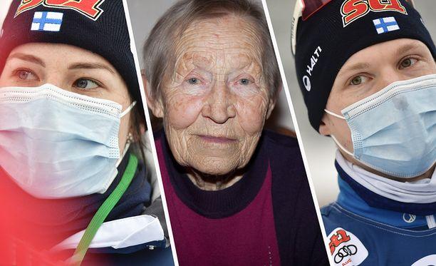 Krista Pärmäkoski (vas.) ja Iivo Niskanen lähettivät lämpimiä terveisiä 96-vuotiaalle hiihtolegendalle Siiri Rantaselle.