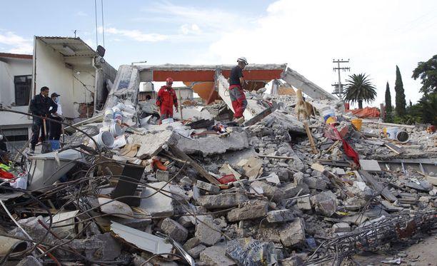 Maa järisee taas Meksikossa. Kuva tiistain maanjäristyksen aiheuttamista tuhoista. Järistyksessä kuoli satoja ihmisiä.