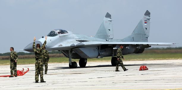 Venäjä toimitti elokuun lopussa Serbialle kuusi MiG 29 -hävittäjää.