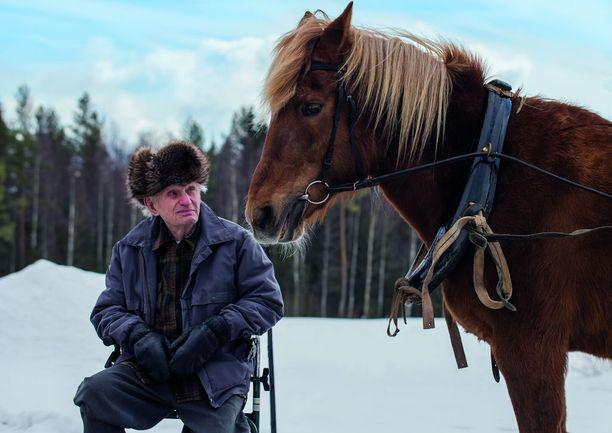Väinö pääsi kuvassaan puusavottaan. Kuvauksissa kohtasivat kaksi vanhusta, Väinö ja hevonen.