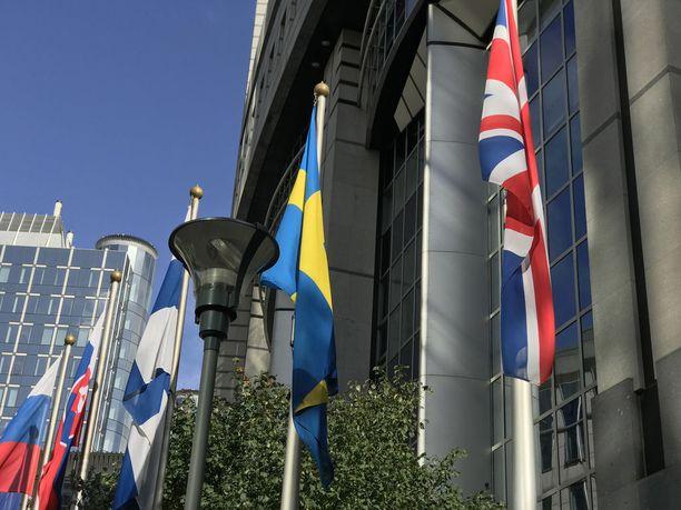 Britannian lippu katoaa lopullisesti rivistä EU-parlamentin takaa maaliskuun lopussa ensi vuonna. Sen jälkeen kuningaskunta ei enää osallistu unionin päätöksentekoon, vaikka sen pitäisi ainakin osin noudattaa EU:n päätöksiä.