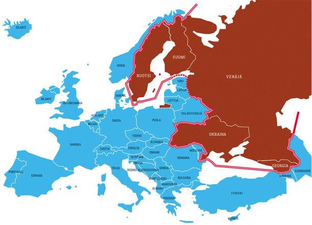 """Venäläisprofessorit V. Konyshev ja A. Sergunin ovat esittäneet elokuussa 2014 julkaistussa artikkelissaan Venäjän poliittisten ryhmien näkemyksiä. Artikkelissa nostetaan esille analyysi Putinin """"punaisesta viivasta"""", jonka yli länsivallat eivät saa astua, ja näiden maiden tulee pysyä liittoutumattomina. Viivan sisäpuolelle kuuluvat Ukraina, Georgia, Suomi ja Ruotsi."""