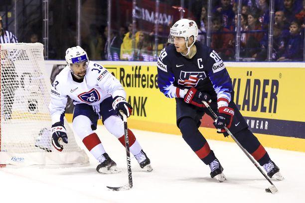 Patrick Kane keräsi 1+1 tehopistettä, kun USA kaatoi Ranskan 7–1.