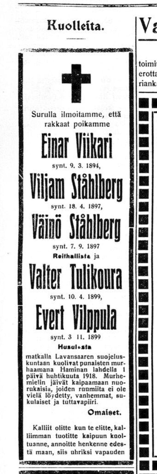 Jäällä ammuttujen nuorten kuolinilmoitus julkaistiin Haminan Lehdessä heinäkuussa 1918.