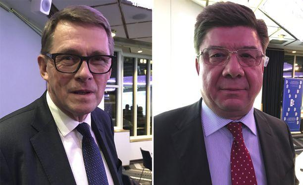 Venäjän Suomen suurlähettiläs Pavel Kuznetsov (oik.) kutsuttiin marraskuussa puhutteluun Venäjän GPS-häirinnän vuoksi. Eduskunnan ulkoasianvaliokunnan puheenjohtaja Matti Vanhanen (vas.) myöntää, että keskustelu päätyi pattitilanteeseen.