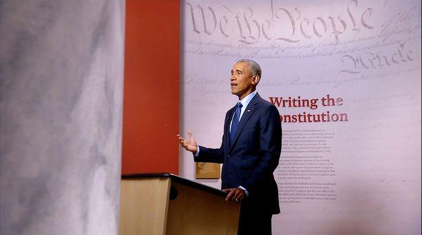 Barack Obama demokraattien puoluekokouksessa Milwaukeessa viime kesänä.