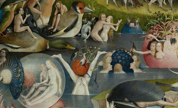 Hieronymus Boschin puutarhassa iloitaan ja himoitaan. Yksityiskohta teoksesta.