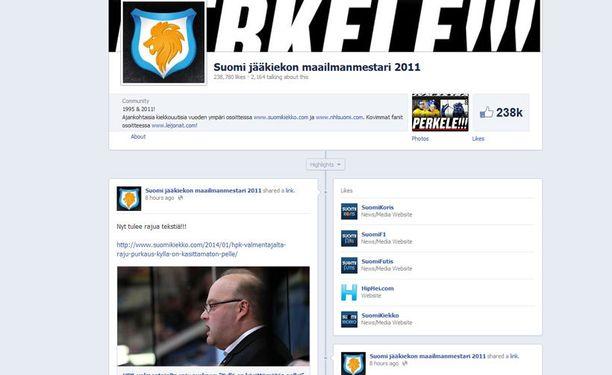 Kuva Facebookista poistetusta Suomi jääkiekon maailmanmestari 2011 -sivusta. Sivulla jaettiin viime aikoina lähinnä jääkiekkouutisia. Kuva Googlen välimuistista.