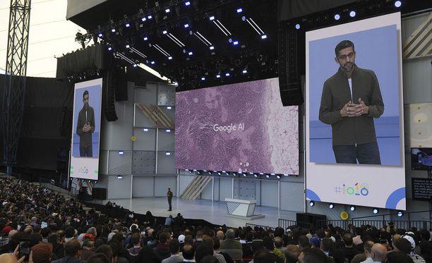 Googlen toimitusjohtaja Sundar Pichai I/O-tapahtumassa.
