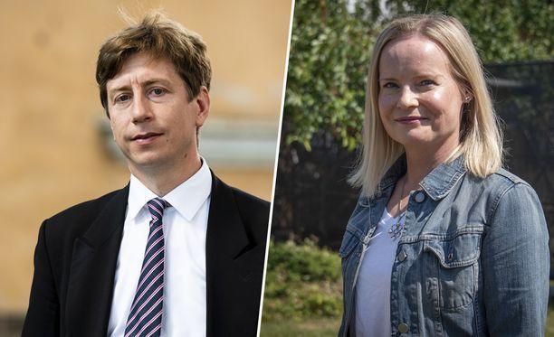 PS:n puheenjohtajakisan kärkiehdokkaat Puisto ja Purra.