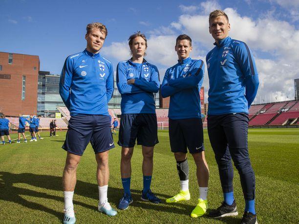 Rasmus Schüller (vas.), Lassi Lappalainen, Jukka Raitala ja Robin Lod ansaitsevat leipänsä Pohjois-Amerikan MLS-liigassa.