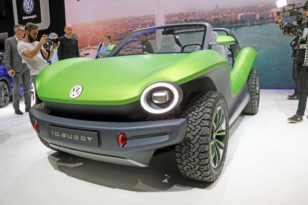 Tämä Rantakirppu Buggy on hupilaite, mutta samalle alustalle rakennettu ID, -sähköautolaivue edustaa jokamiehen sähköautoja.