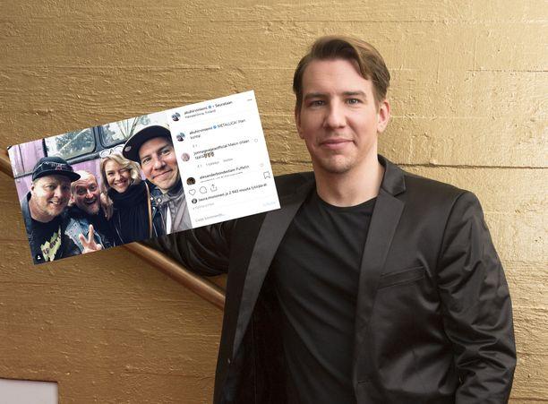 Aku Hirviniemi julkaisi Metallican keikalta yhteiskuvan.