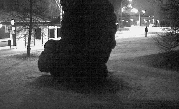 Toistaiseksi tuntematon mies kävelee ensin gorillateoksen ohi ja palaa sitten sen luokse, minkä jälkeen teos syttyy palamaan.