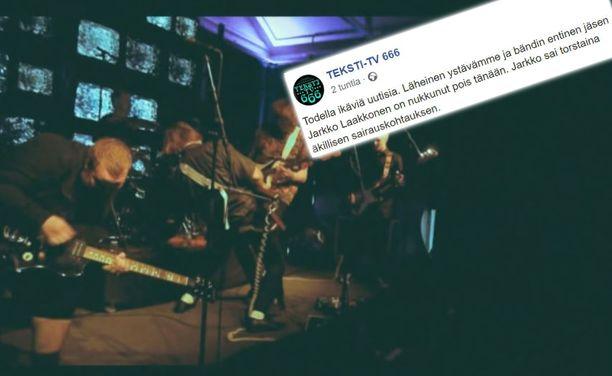 Teksti-tv 666 suree ex-kitaristinsa poismenoa.