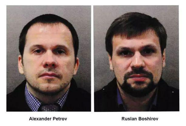 Näitä kahta Venäjän passilla matkustanutta miestä Britannian poliisi epäilee maaliskuisesta hermomyrkkyiskusta.