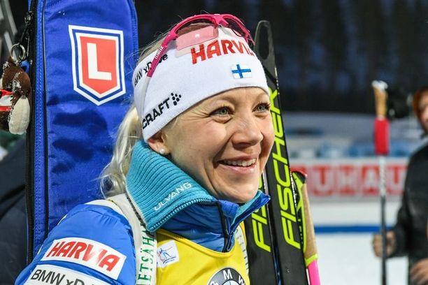Kaisa Mäkäräinen leireili kesällä hiihtomaajoukkueen mukana Sveitsin Pontresinassa.
