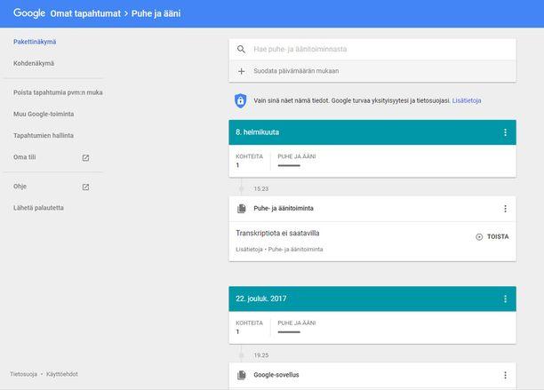 Google listaa nauhoittamansa tiedot.