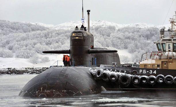 Yksi Venäjän hurjimmista visioista on ydinaseella varustettu robottikäyttöinen sukellusvene. Kuvassa ydinsukellusvene Murmanskissa.