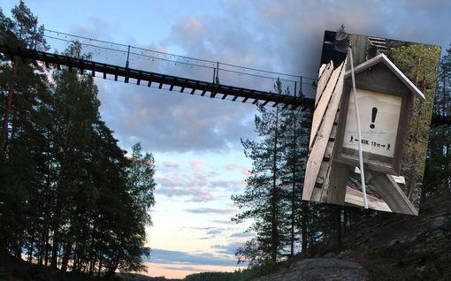 Riippusillan vaijeri petti 10 metrin korkeudessa Repoveden kansallispuistossa - sillalla 9 ihmistä, kaikki pääsivät turvaan