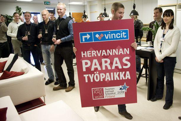 Tamperelaisyritys Vincit menestyi Suomen parhaat työpaikat -vertailussa muun muassa vuonna 2011.