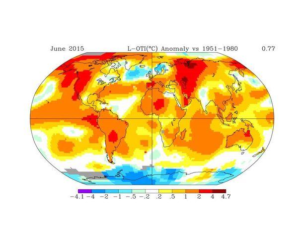 Nasa julkaisi kesäkuun tilastoihin perustuvan kuvan, joka kuvaa hyvin täkäläistä tilannetta verrattuna muuhun maailmaan. Suomi, Ruotsi ja Norja näkyvät kylminä pisteinä: alueina, joissa kesäkuu oli tavanomaista koleampi.