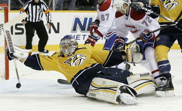 Pekka Rinne taisteli väkevästi Montrealia vastaan.