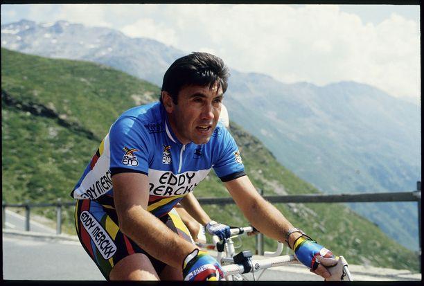 Eddy Merckx kuvattuna Sveitsin vuoristossa vuonna 1988.