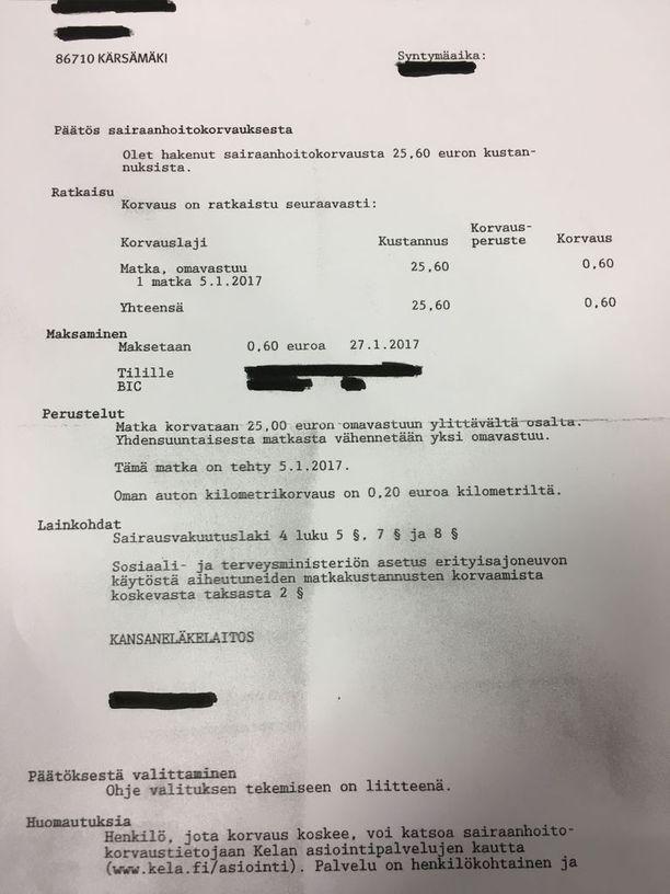 Ahdille jäi korvattavaksi omavastuuosuuden jälkeen 60 senttiä. Sillä ei saanut maksettua edes kuluja, jotka koituivat tämän korvauspäätöksen välittämisestä Iltalehdelle. Koska Ahti ei käytä sähköpostia, päätöksen toimitti Ahdin pyynnöstä paikallinen kodinkoneliike, joka laskutti toimenpiteestä kaksi euroa.