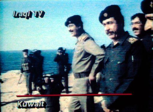 Irakilaisella televisiokanavalla uutisoitiin Saddam Husseinin johtaman Irakin miehittämästä Kuwaitista.