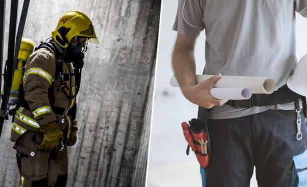 Palomiesten talkooporukka suojeli perheen rakennuksen Huittisissa. Kuvituskuva.