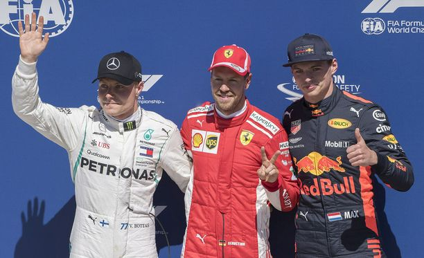 Sebastian Vettel oli aika-ajojen ykkönen ennen Valtteri Bottasta ja Max Verstappenia.