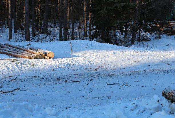 Tilanne tapahtui Petäjäveden Kintauden kylässä, jossa poliisi ampui miestä kuolettavasti lauantaina. Kuva ampumispaikalta.