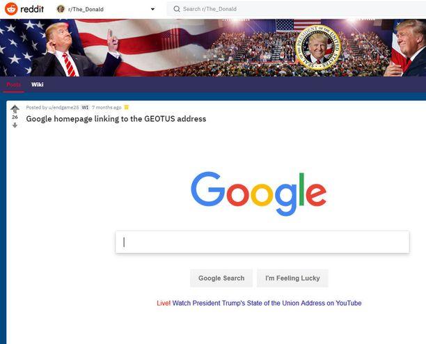 Kuvakaappaus Redditin fanisivustolta r/The_Donald.
